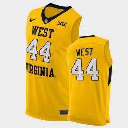 Men West Virginia Mountaineers Jerry West Alternate Yellow Authentic Jersey