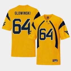 Men West Virginia Mountaineers Mark Glowinski Gold College Football Alternate Jersey