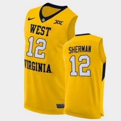 Men West Virginia Mountaineers Taz Sherman Alternate Yellow Authentic Jersey