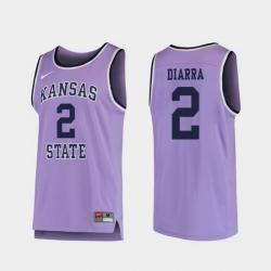 Men Kansas State Wildcats Cartier Diarra Purple Replica College Basketball Jersey