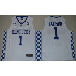 Wildcats #1 John Calipari White Basketball Elite Stitched NCAA Jersey