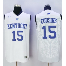 Wildcats #15 DeMarcus Cousins White Basketball Stitched NCAA Jersey