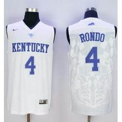 Wildcats #4 Rajon Rondo White Basketball Stitched NCAA Jersey