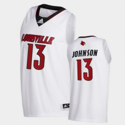 Men Louisville Cardinals David Johnson College Basketball White Swingman 2020 21 Jersey