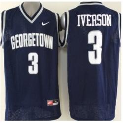 2015 Georgetown Hoyas #3 Allen Iverson Navy Blue Basketball Stitched NCAA Jersey