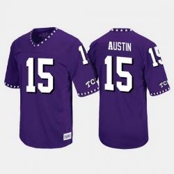 Men Tcu Horned Frogs Jaelan Austin Throwback Purple Jersey