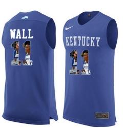 Kentucky Wildcats 11 John Wall Royal Blue With Portrait Print College Basketball Jersey
