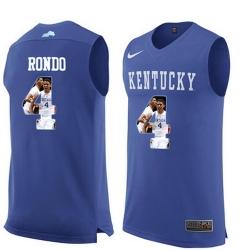 Kentucky Wildcats 4 Rajon Rondon Royal Blue With Portrait Print College Basketball Jersey