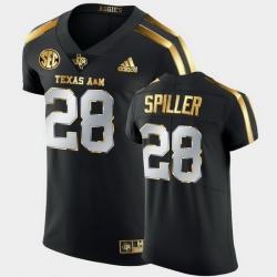 Men Texas A&M Aggies Isaiah Spiller Golden Edition Black Authentic Jersey