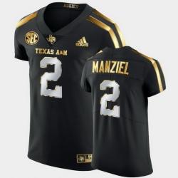 Men Texas A&M Aggies Johnny Manziel Golden Edition Black Authentic Jersey