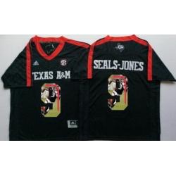 Texas A 26M Aggies 9 Ricky Seals Jones Black Portrait Number College Jersey