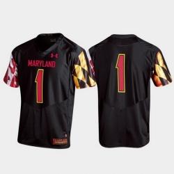 Men Maryland Terrapins 1 Black Replica College Football Jersey