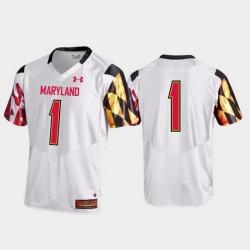 Men Maryland Terrapins 1 White Premier Football Jersey