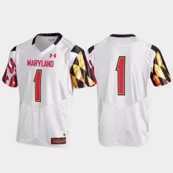Men Maryland Terrapins 1 White Replica Jersey