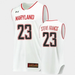 Men Maryland Terrapins Steve Francis Hardwood Classics White Basketball Jersey