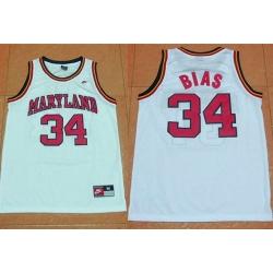 Terrapins #34 Len Bias White Basketball Stitched NCAA Jersey