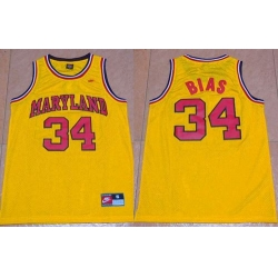 Terrapins #34 Len Bias Yellow Basketball Stitched NCAA Jersey