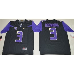 Huskies #3 Jake Browning Black Limited Stitched NCAA Jersey