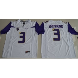 Huskies #3 Jake Browning White Limited Stitched NCAA Jersey