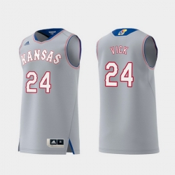 Men Kansas Jayhawks Lagerald Vick Gray Replica College Basketball Jersey