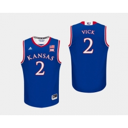 Men Kansas Jayhawks Lagerald Vick Royal College Basketball Jersey