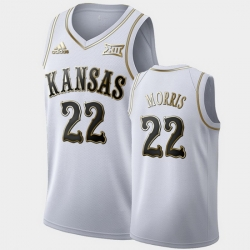 Men Kansas Jayhawks Marcus Morris Golden Limited White Clippers Jersey