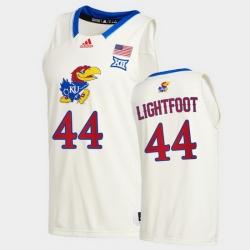 Men Kansas Jayhawks Mitch Lightfoot College Basketball Cream New Season 2020 21 Jersey