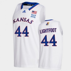Men Kansas Jayhawks Mitch Lightfoot College Basketball White New Season 2020 21 Jersey