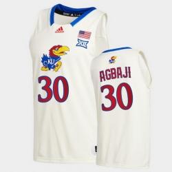 Men Kansas Jayhawks Ochai Agbaji College Basketball Cream New Season 2020 21 Jersey