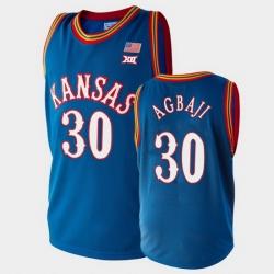 Men Kansas Jayhawks Ochai Agbaji College Basketball Royal Jersey