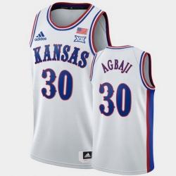 Men Kansas Jayhawks Ochai Agbaji White 1990S Throwback Jersey