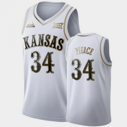 Men Kansas Jayhawks Paul Pierce Golden Limited White Retired Player Jersey