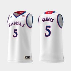 Men Kansas Jayhawks Quentin Grimes White Replica College Basketball Jersey