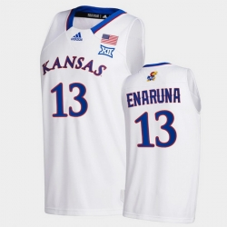 Men Kansas Jayhawks Tristan Enaruna College Basketball White New Season 2020 21 Jersey