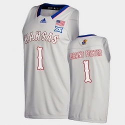 Men Kansas Jayhawks Tyon Grant Foster College Basketball Gray New Season 2020 21 Jersey