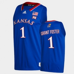 Men Kansas Jayhawks Tyon Grant Foster College Basketball Royal New Season 2020 21 Jersey