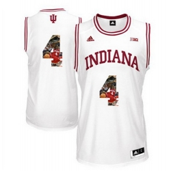 Indiana Hoosiers 4 Victor Oladipo White With Portrait Print College Basketball Jersey