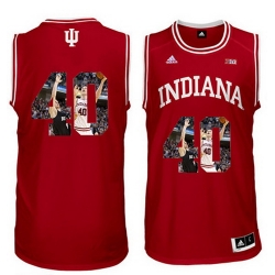 Indiana Hoosiers 40 Cody Zeller Red With Portrait Print College Basketball Jersey