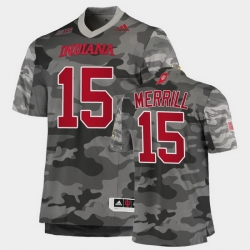 Men Indiana Hoosiers Zack Merrill College Football Gray Salute To Service Jersey