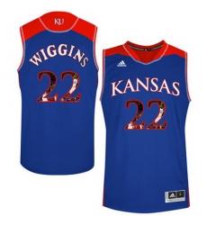 Kansas Jayhawks 22 Andrew Wiggins Blue With Portrait Print College Basketball Jersey