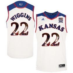 Kansas Jayhawks 22 Andrew Wiggins White With Portrait Print College Basketball Jersey