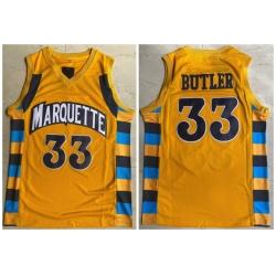 Men Marquette 33 Jimmy Butler Yellow College Basketball Jersey