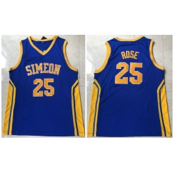 Men Simeon 25 Derrick Rose Blue High School Mesh Basketball Jersey