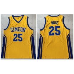 Men Simeon 25 Derrick Rose Yellow High School Mesh Basketball Jersey