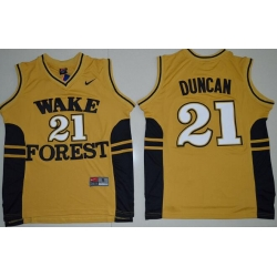 Wake Forest Demon Deacons Tim Duncan 21 College Basketball Jersey  Gold