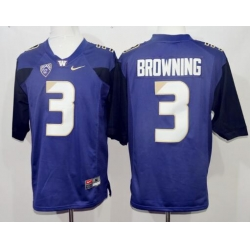 Washington Huskies 3 Jake Browning College Football Purple Jersey
