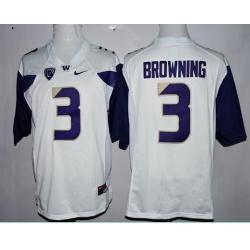 Washington Huskies 3 Jake Browning College Football White Jersey