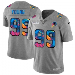 Washington Redskins 99 Chase Young Men Nike Multi Color 2020 NFL Crucial Catch NFL Jersey Greyheather