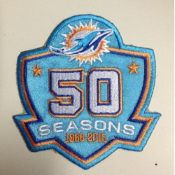 1966-2015 Patch 50Th Seasons Anniversarys Miami Dolphins Blue Patch