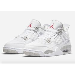 Men Air Jordan 4 Oreo White Shoes Red Logo